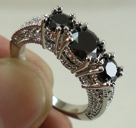 New Brand Jewelry 925 Sterling Silver Natural Black Sapphire Gemtsones Birthstone Bridal Wedding Engagement Promise Ring Size 5