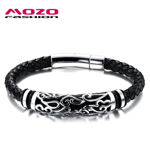 MOZO FASHION Hot Brand Jewelry Men Leather Bracelet Male Vintage Bangles Stainless Steel Exquisite Snaps Mens Bracelet MPH901