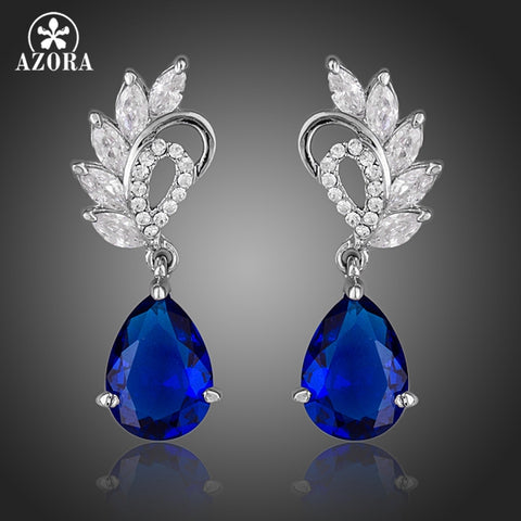 AZORA Elegant Clear and Dark Blue Color Top AAA+ Cubic Zirconia Water Drop Earrings TE0127