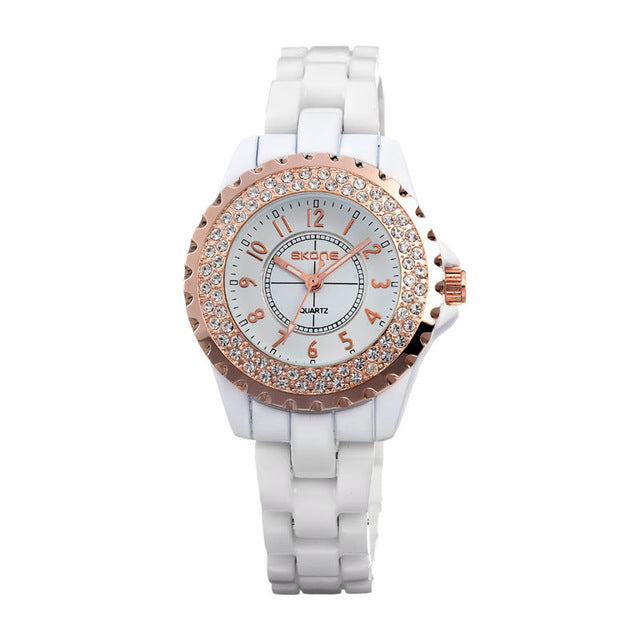 Ceramic watch Fashion Casual Women quartz watches relojes mujer SKONE brand luxury wristwatches Girl elegant Dress clock 7242GB