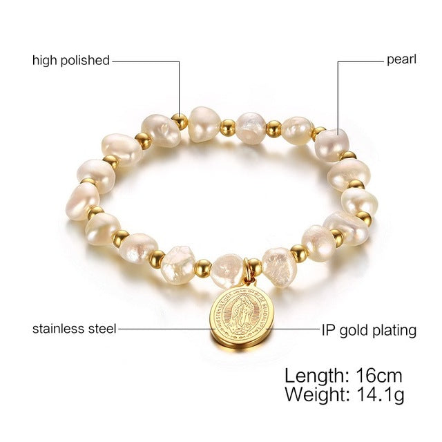 Meaeguet Virgin Mary Beads Bracelets For Woman Charm Bangles Natural Freshwater Pearls Bracelet Yoga Jewelry Pulseras Hombre