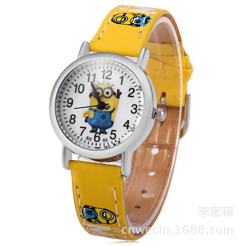 2015 new hot sell 3D Eye minion children Cartoon watch women men quartz watch kids leather watches students sports wristwatches