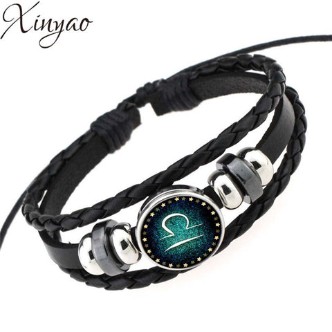 2016 Virgo/Sagittarius/Aquarius/Scorpio/Libra/Capricorn 12 Constellation Bracelet Men Women Braided Leather Bracelets & Bangles
