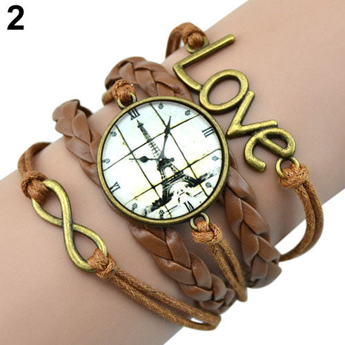 Bluelans Popular Infinity Charm Love 8-Shape Weave PU Leather Faux Wrist Watch Bangle Bracelet