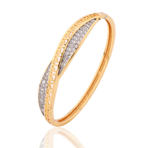 GULICX 2017 luxury Twisted Hand Bangle for Women Gold-color Bracelet White Cubic Zirconia Wedding Jewelry Z039