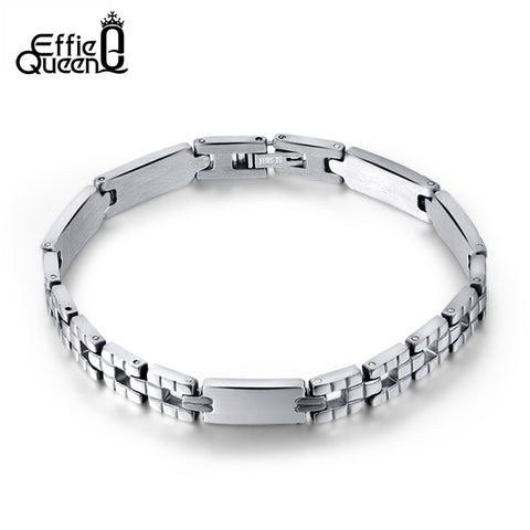 Effie Queen Men Women Jewelry Bracelet links & chains Silver Color Stainless Steel Bracelet Bangle Male Accessory Wholesale IB33