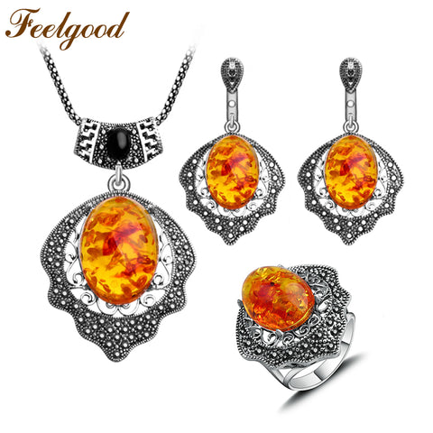 Feelgood Russian Ethnic Jewellery Sets Big Pendant Necklace Earrings Ring Fashion Jewelry Set For 2017 Women Mother's Day Gift