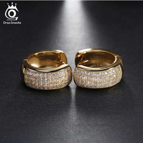 ORSA JEWELS Small Circle Earrings Full Set Luxury AAA Austrian Crystal Romantic Engagement&Wedding Gift for Women OE100