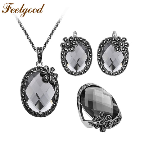 Feelgood Antique Silver Color Vintage Jewellery Sets Flower And Gray Crystal Pendant Necklace Earrings Ring Women Jewelry Set