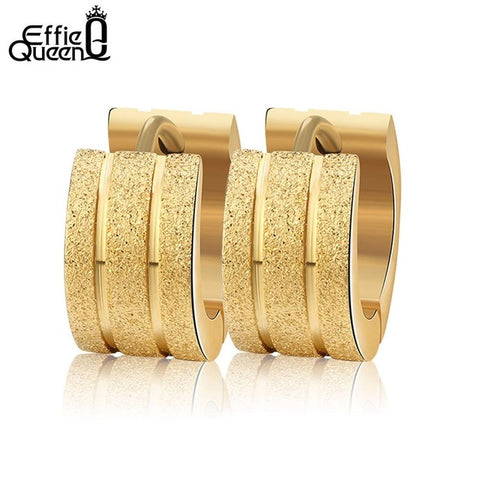 Effie Queen Women Men Fashion Frosted Earrings Stud Stainless Steel Material 3 Color Trendy Style Earrings Jewelry IE19