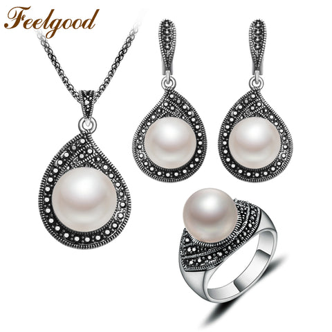 Feelgood Jewellery Vintage Silver Color Water Drop Necklace Sets Black Crystal And Imitation Pearl Jewelry Set For Women Gift