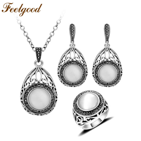 Feelgood Silver Color Vintage Jewellery Set Hollow Out Water Drop And Round Natural Stone Opal Jewelry Sets For Women Party Gift
