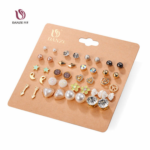 DANZE 20 Pairs/lot Punk Fashion Stud Earrings Set For Women Elegant Mixed Crystal Flower Bow metal Ball Earings Jewelry 5 Styles