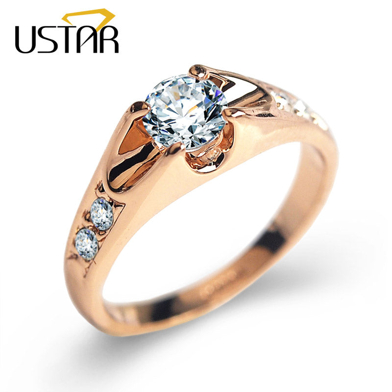 USTAR Top quality Austria Crystals wedding Rings for women Rose Gold color Engagement Rings Female Anel Bijoux Party Christmas s