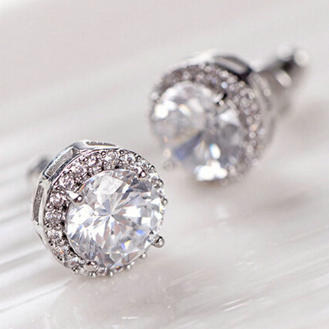 Luxury Women's Nice Crystal Zircon Inlaid Ear Stud Earrings For Women Girls