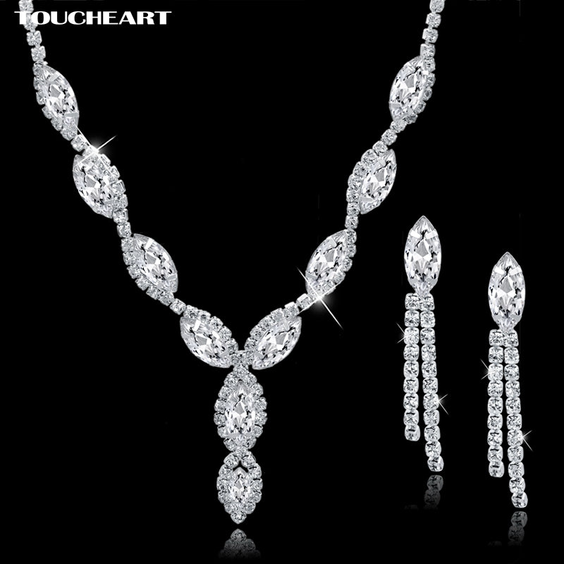 TOUCHEART Women V Shaped Rhinestone Crystal Necklaces Tassel Earrings Sets Wedding Bridal Silver color Jewelry Sets Set150063