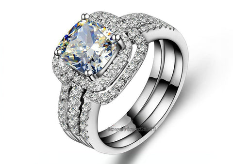 choucong Cushion cut 8mm Stone 5A Zircon stone 10KT White Gold Filled 3-in-1 Engagement Wedding Ring Set Size 5-11 Gift