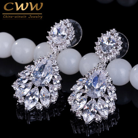 CWWZircons Elegant Chandelier AAA+ Cubic Zirconia Long Big Crystal Bridal Dangle Drop Earring For Wedding Jewelry CZ202