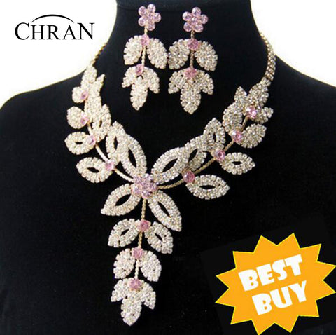 Chran Wholesale Gold Color Flower Wedding Bridal Austrian Crystal Rhinestone Vintage Necklace And Earring Jewelry Set DDJSR1591