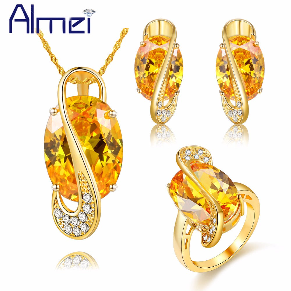 Almei Gold Color Big Yellow Crystal Jewerly Sets for Women Ladies Wedding Zirconia Necklace Earrings Ring Stones Gifts Y182