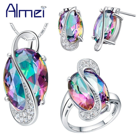 Almei 50% off Fashion Pendant Earrings Ring Crystal Silver Color Bijoux African Mystic Jewlery Set Wedding Necklaces Sets T472