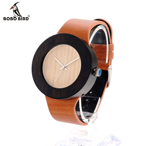 BOBO BIRD H13 New Watch Women Brand Wooden Watch with Genuine Leather Band Luxury Analog Quartz Watch for Ladies Watch For Gift