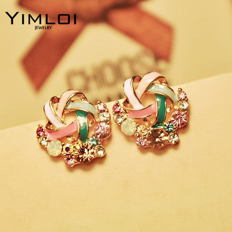2016 New Korean Upscale Jewelry Wholesale Fashion Elegant Temperament Distorted Color Rhinestone Stud Earrings for Women
