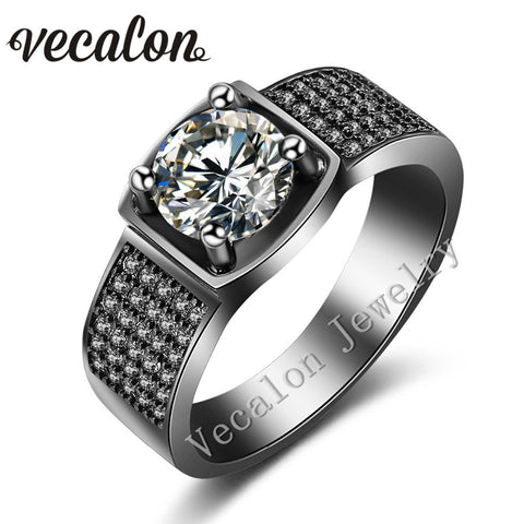 Vecalon Prong set Solitaire 3ct AAAAA Zircon Cz Wedding Band Ring for Men 10KT Black Gold Filled male Engagement ring gift