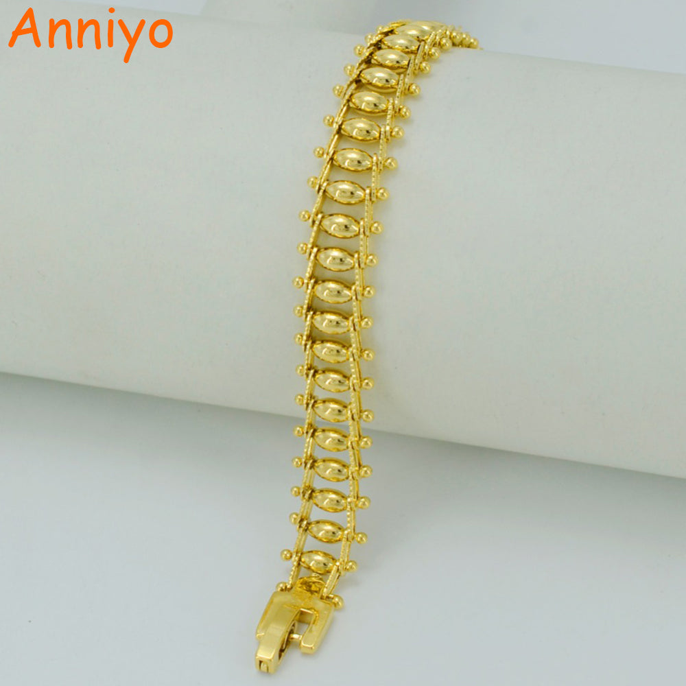 Anniyo Dubai Bracelet for Women Gold Color Ethiopian Jewelry African Bangle for Women's,Arab Wedding Gifts #043302