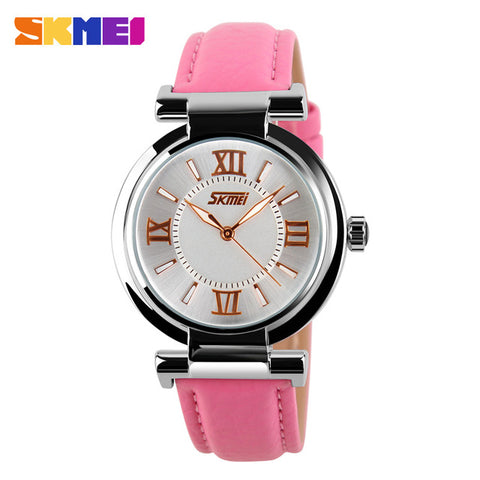 SKMEI Popular Women Dress Watches Leather Strap Gold Quartz Fashion Waterproof Ladies Watch Women Wristwatches Lady Watch Clock