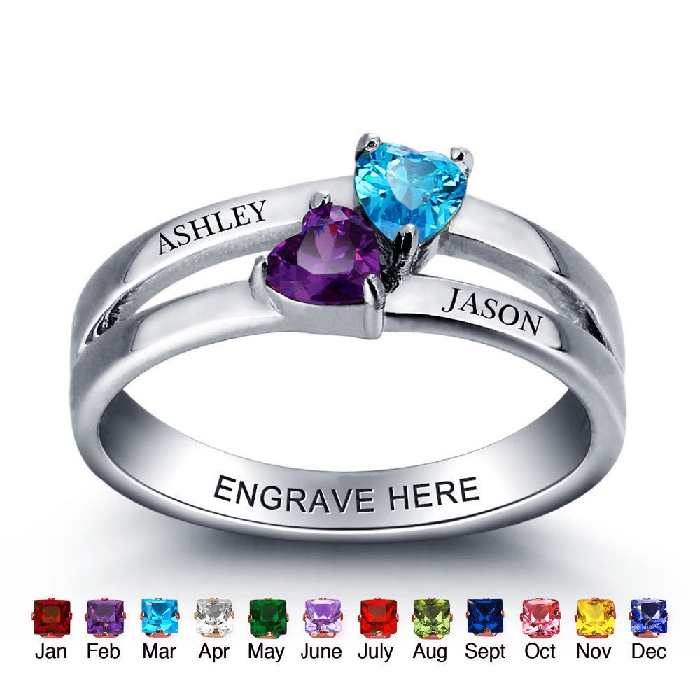 Personalized Gift 925 Sterling Sliver Birthstone Heart Rings Custom Engraved Jewelry Promise Love Engagement Rings For Women