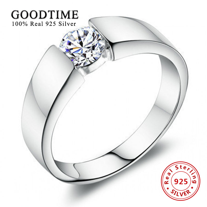 Men's Sterling Silver Jewelry Fashion Rings 100% 925 Sterling Silver Ring Set 1 Carat SONA Zirconia Engagement Ring GTR016