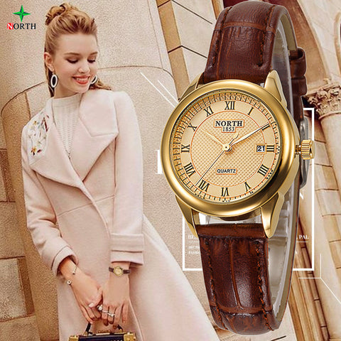 NEW Women Fashion Casual Watch 30M Waterproof Luxury Brand Quartz Female Watches Ladies NORTH Gold Dress Wristwatch Nontre femme