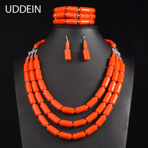 UDDEIN Nigerian Wedding Indian Jewelry Sets Beads Necklace Earring Bracelet Sets Statement Collar African Beads Jewelry Set