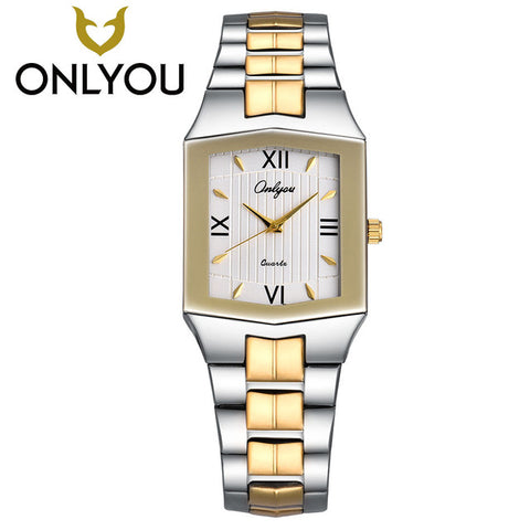 2017ONLYOU Relogio Feminino Quartz Brand Lady Watches Women Luxury Gold Antique Square Stainless steel Rome party wrist Watches