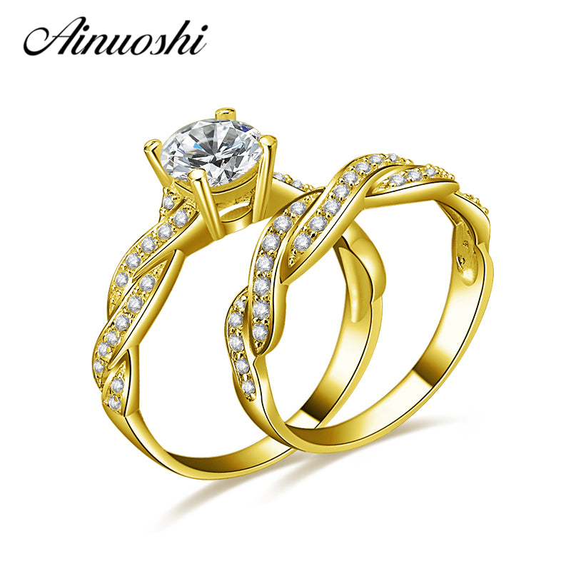 AINUOSHI 10k Solid Yellow Gold Wedding Ring Sets 1 ct Simulated Diamond Luxury Twisted Anel de ouro Women Engagement Rings Set