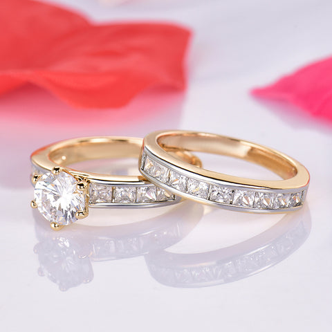 GULICX Classic Ring sets Gold-Color Wedding Bands Rings For Women High Quality Round CZ Prong Setting Engagement Jewelry Gift