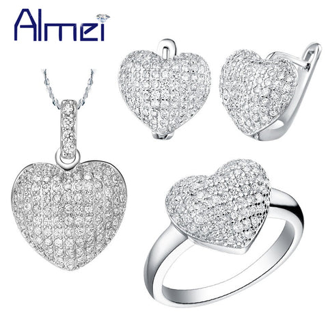 Almei 49%Off Love Heart White Rhinestones Wedding Jewelry Sets Women Bridals Fashion Micro Pave Necklace Earrings Ring Set T004