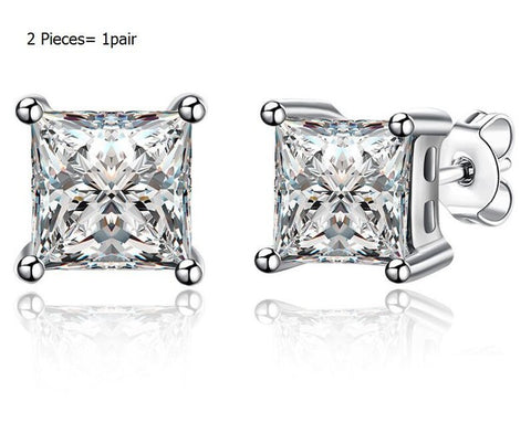 COLORFISH Princess Cut 2 Carat Solitaire Stud Earring For Men and Women Fashion Jewelry 8mm Zircon 925 Sterling Silver Earrings