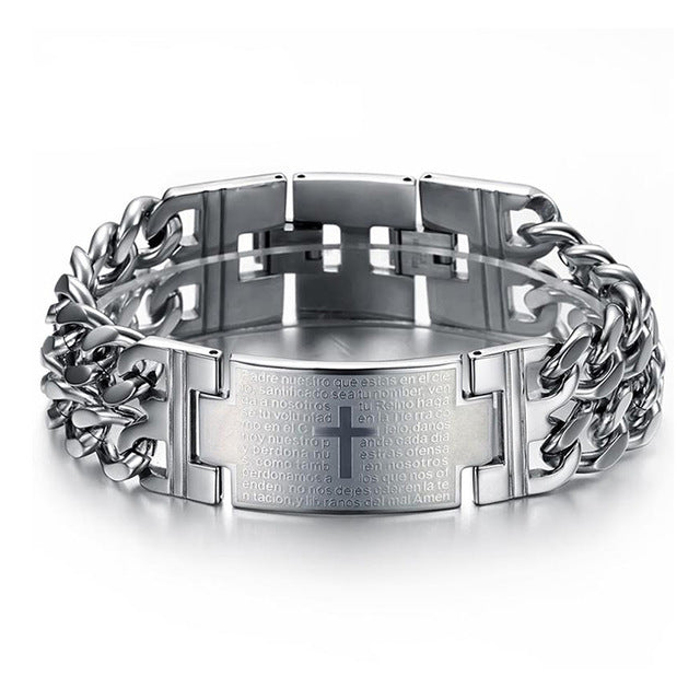 OBSEDE 2017 Punk Jesus Cross Bracelets Stainless Steel Bracelets Men Jewelry Male Charm Bangle Double Hand Chain Man Wristband