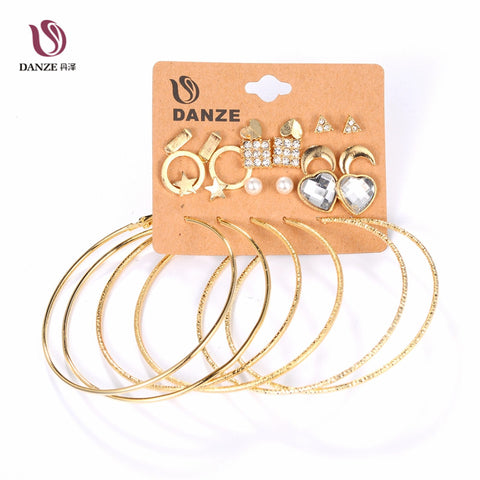 DANZE 12 Pairs/lot Small Star Heart Moon Earring Sets Women Female Big Circle Hanging Ear Studs Ear Pendant Brincos Aros Jewelry