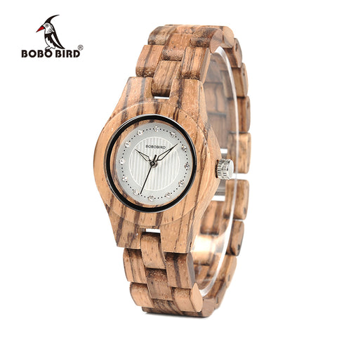 BOBO BIRD WO29 Ladies Bamboo Zebra Wooden Watch Gems Imitate Diamond Gentlewomanly Quartz Watches for Women Wood Box XFCS