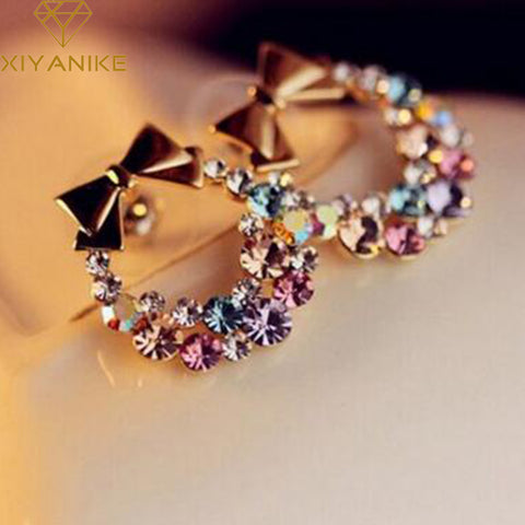 New Fashion Designer Jewelry Colorful Rhinestone Imitation Pearl Butterfly Bow Stud Earrings for Women Brincos XY-E200