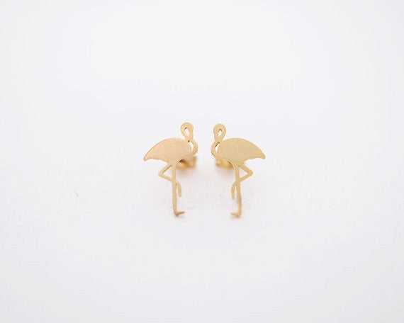 Oly2u 2017 New Arrival Cute Animal Stud Earring Flamingo Brass ear studs  Women Girl Birthday Party Jewelry Gifts Cool Earring