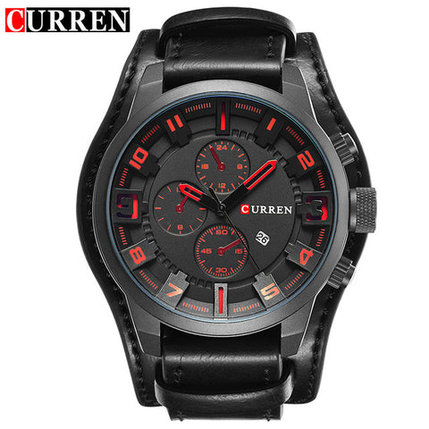 Curren Military Sport Men Quartz Watch 2017 Fashion Mens Watches Top Brand Luxury Leather Strap ManWristwatch Relogio Masculino