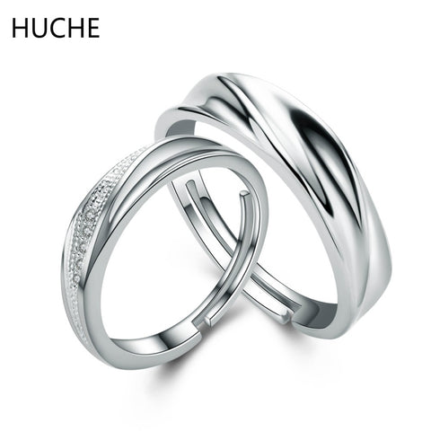 HUCHE Hot Fashion 925 Silver Couple Ring Sets for Women and Men Jewelry Pure Silver Wedding Engagement Fashion Jewlery ZI57