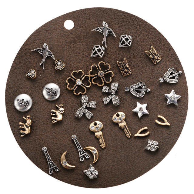 DANZE 12 Pairs/lot Vintage Rhinestone Stud Earrings Set for Women Punk Lovely Charms Collection Ear Studs Animal Brincos Jewelry