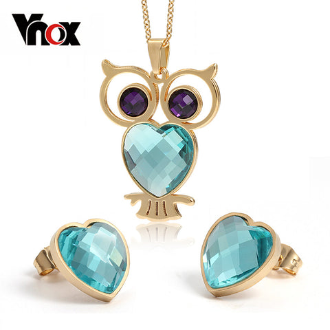 VNOX Cute Crystal Owl Necklace and Earrings Jewelry Sets for Women Gold color Stainless Steel Female Gift
