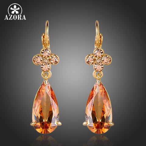 AZORA Charming Gold Color Crystal Flower Hang Cubic Zirconia Water Drop Earrings TE0156