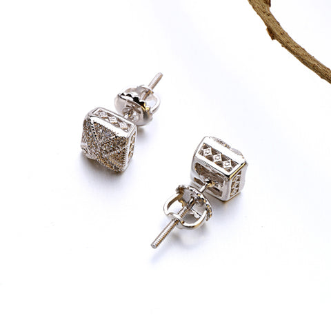 VANAXIN Square Rhinestones Stud Earrings Women Cubic Zirconia Gold/Silver Color Punk Men Earings Fashion Jewelry Brinco Gift Box
